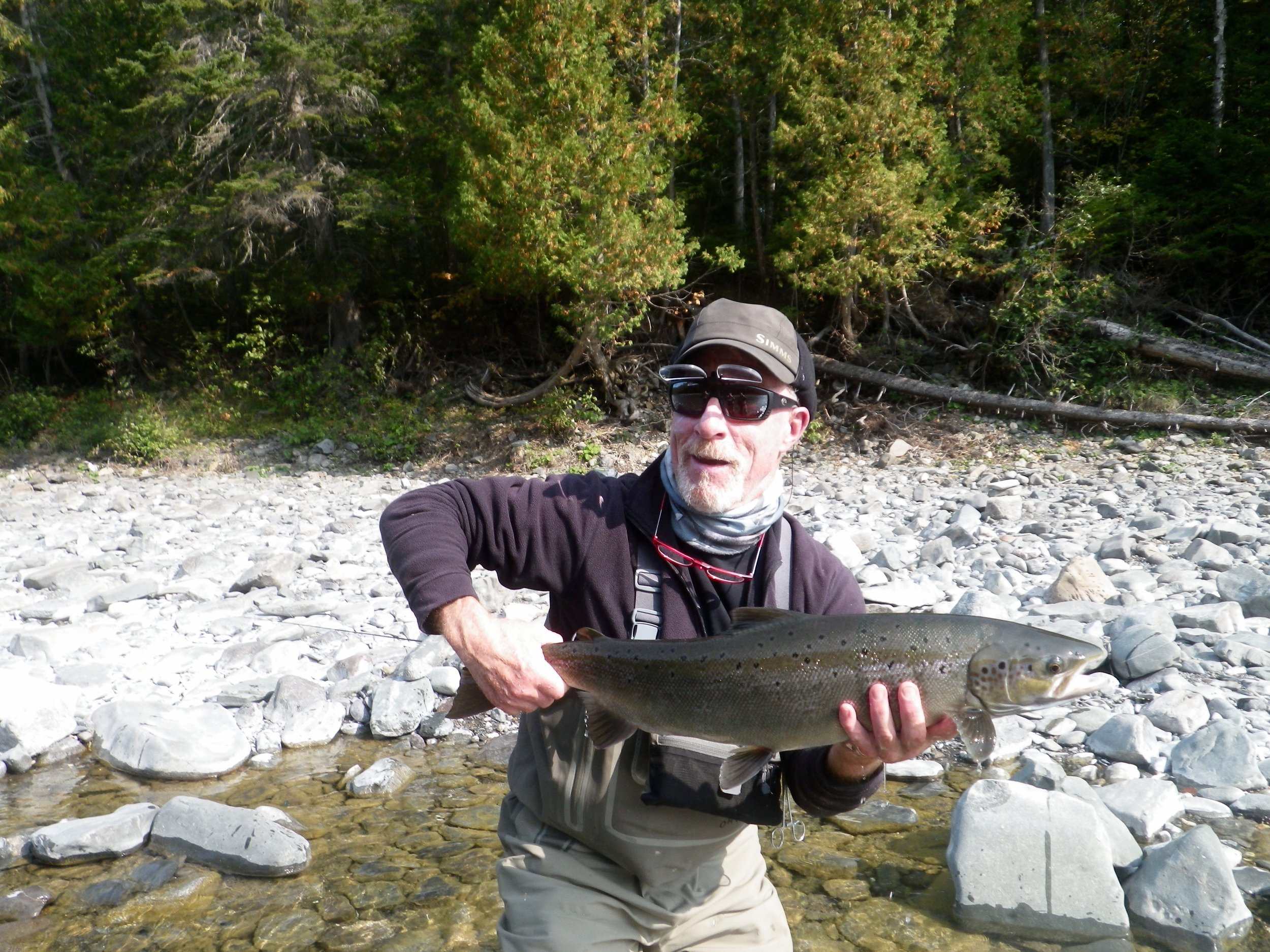 Douglas Andrews landed this fine salmon on the Bonaventure, congratulations Doug ,well done !