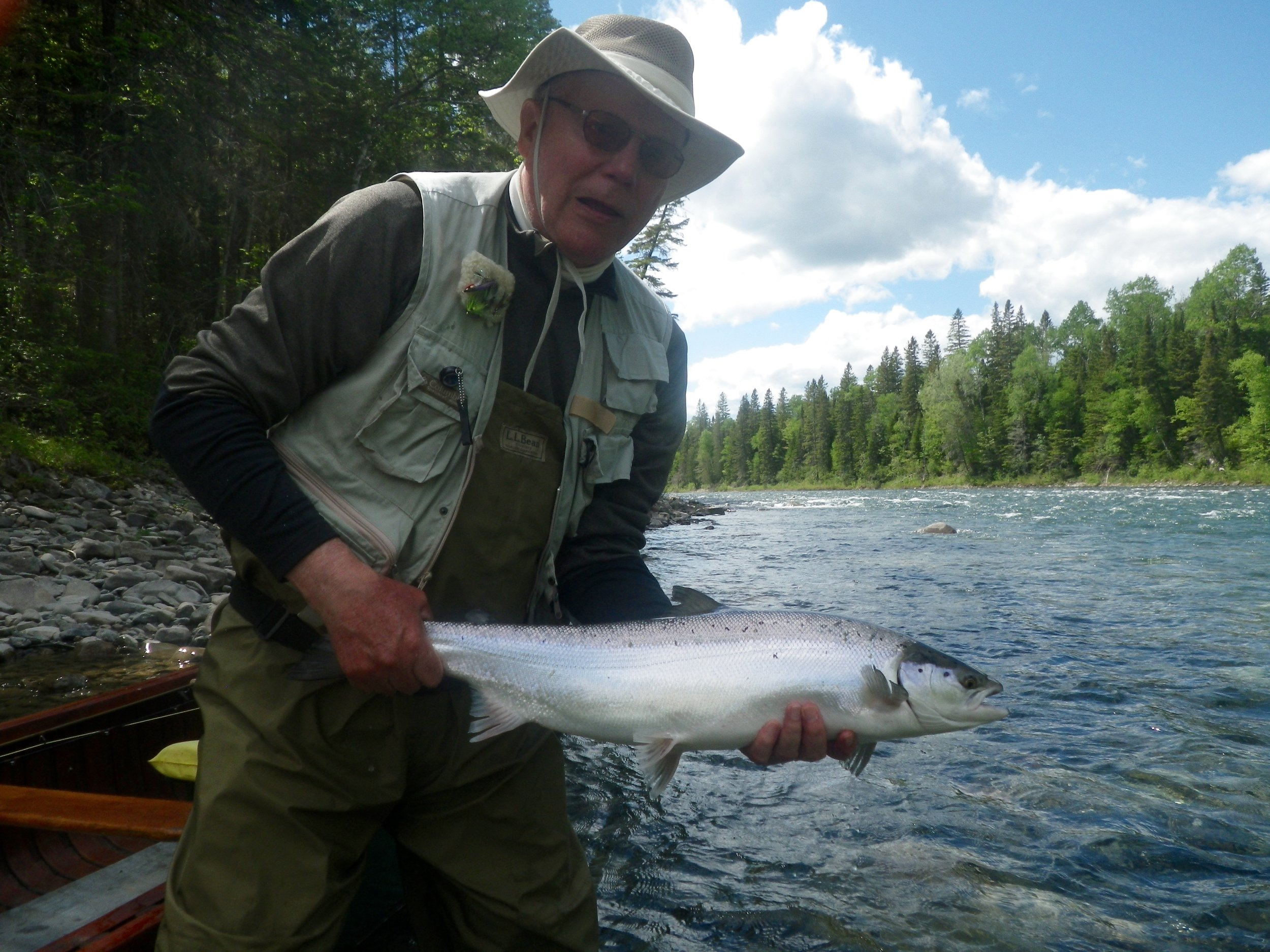 Long time Camp Bonaventure guest David Johnston with a nice fresh run salmon, congratulations David!