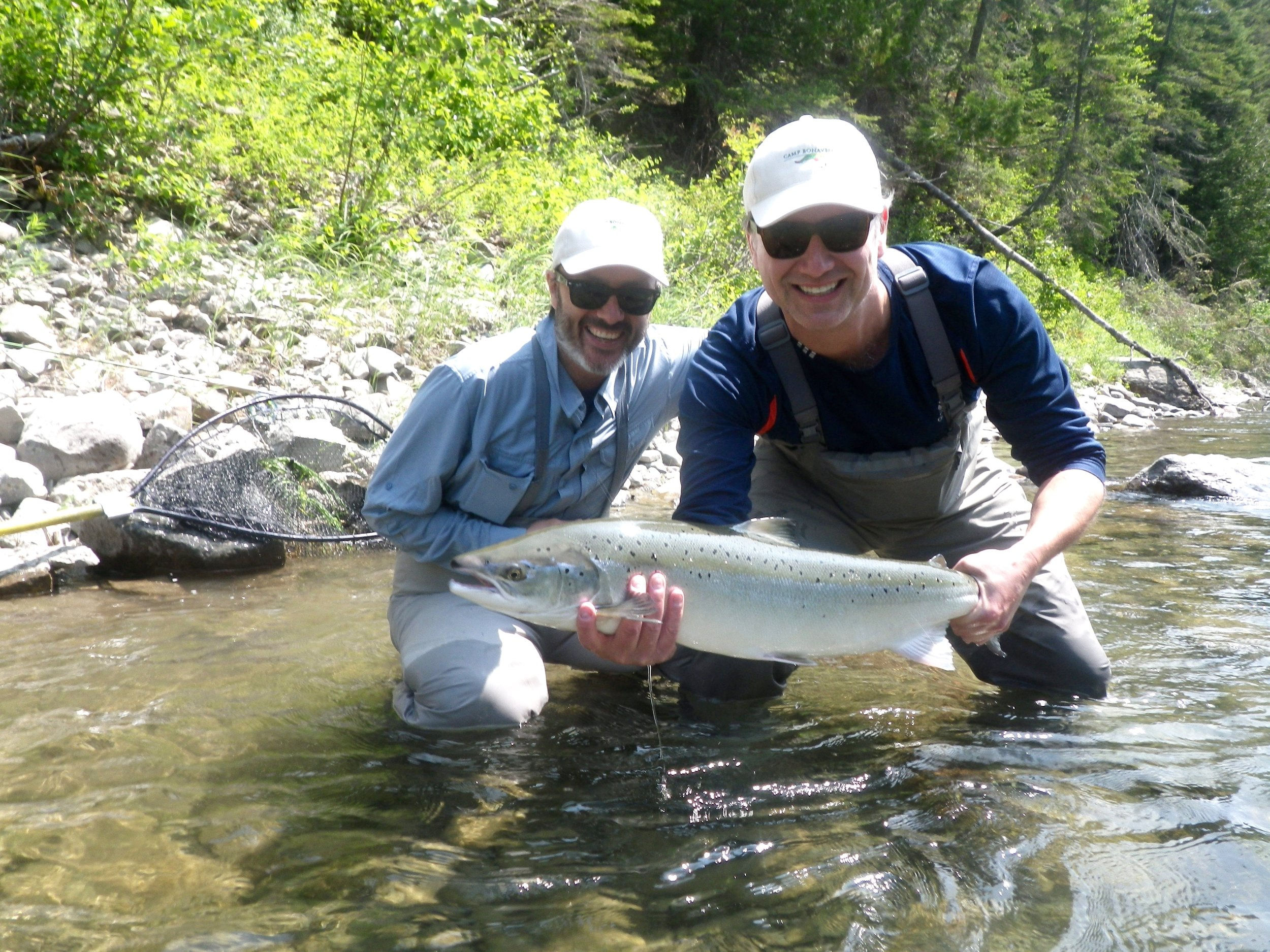 Frederic Boucher (left) picked up a fly for the first time this week, didn't take him long to learn how to cast and catch salmon, congratulations Frederic !