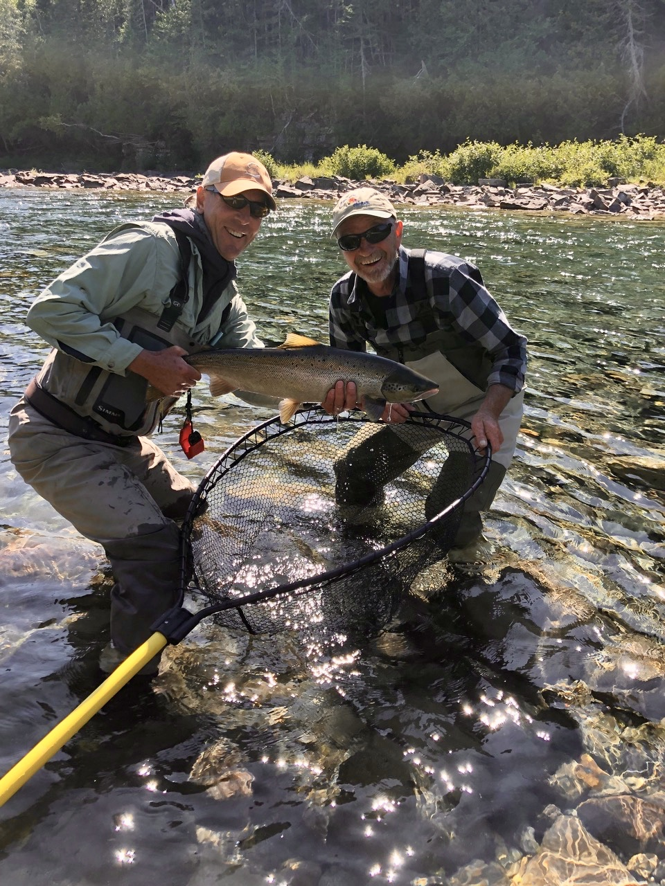 Wayne Merrithew had a wonderful day with our guide Marc on the Bonaventure and released this great salmon back into the Boni!
