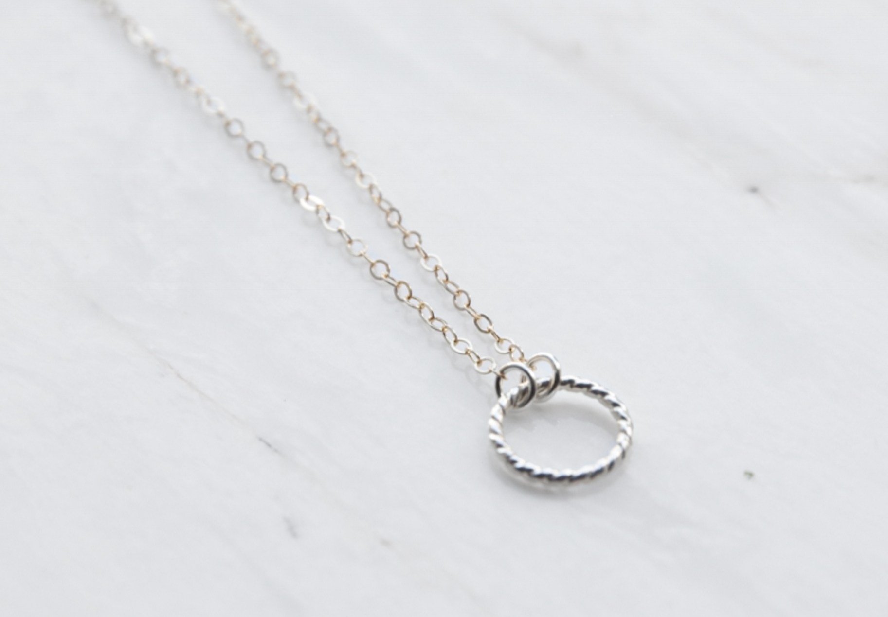 "Possibility Necklace: gold filled chain adjustable from 14-16"", sterling silver possibility circle 6mm"