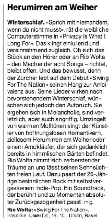 Basler Zeitung, 21.9.2015