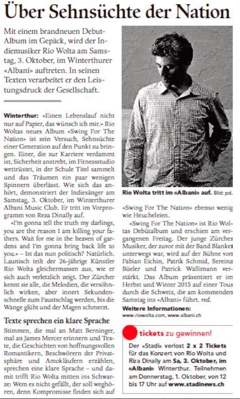 Winterthurer Stadtanzeiger, 29.9.2015