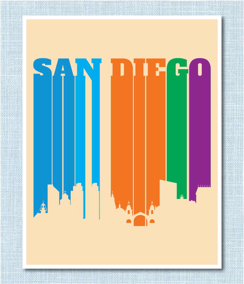 San Diego, California Letters in City Skyline