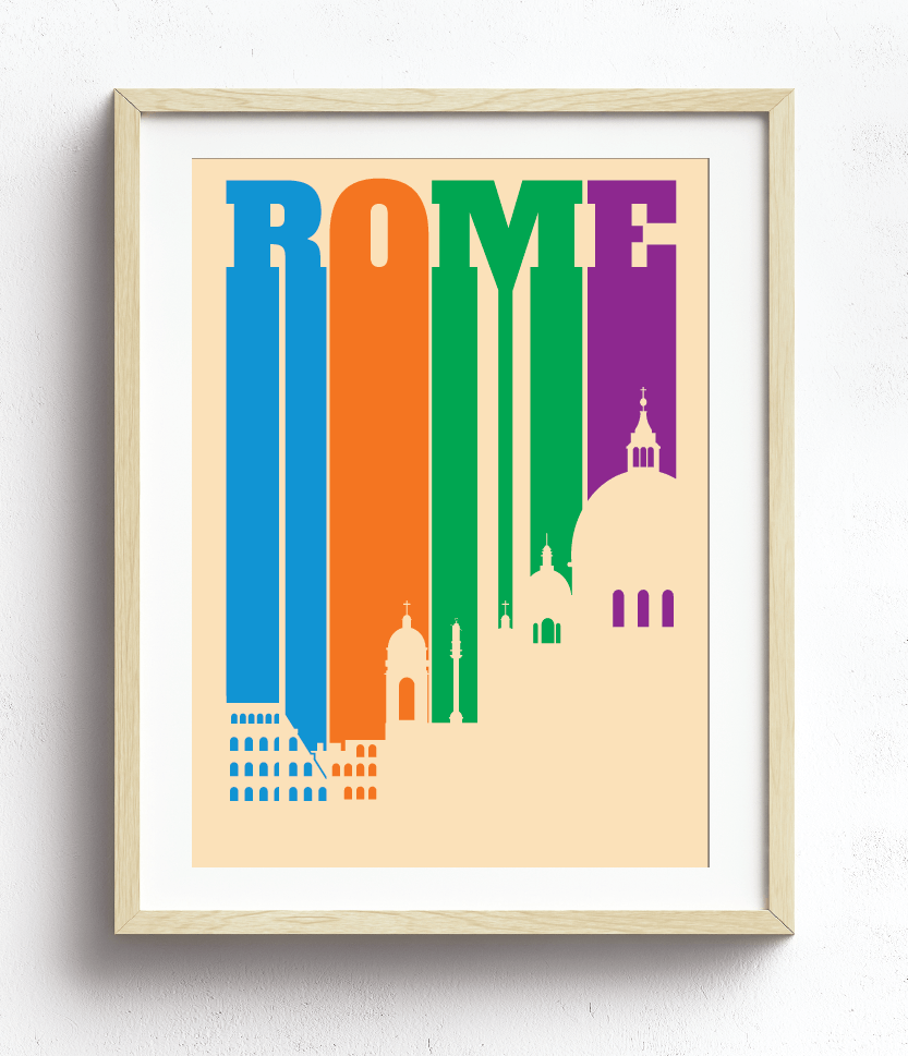 Rome Italy Bold Letters and Bright Colors Silhouette Skyline
