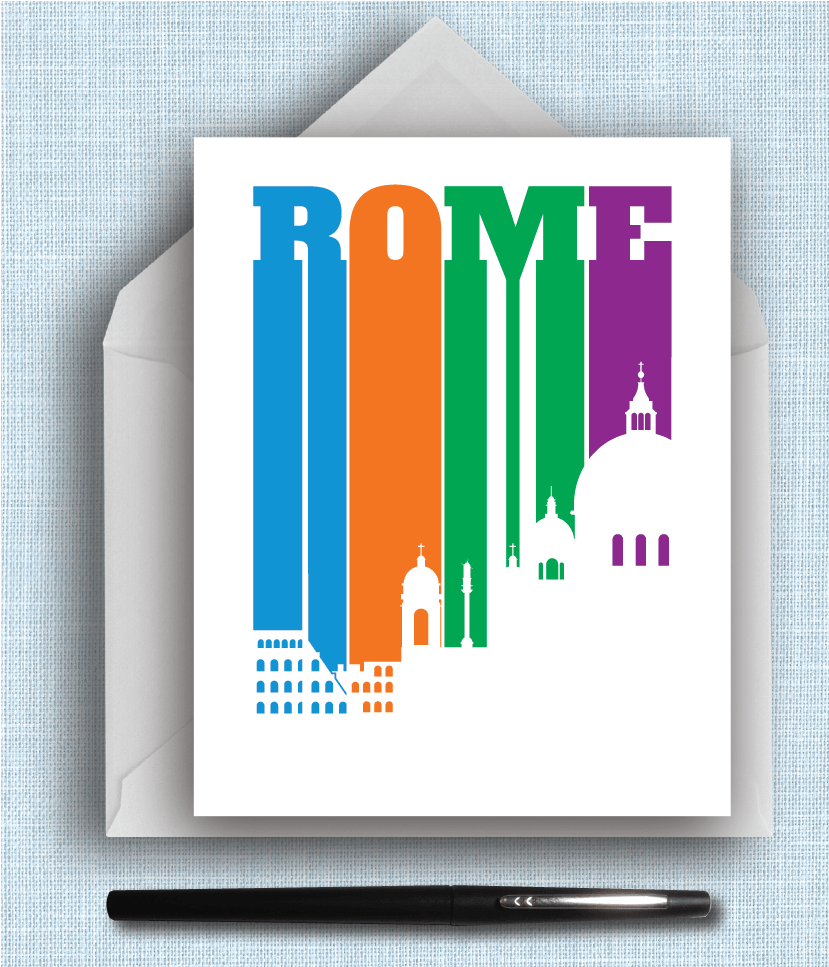 Rome Italy Bold Letters and Bright Colors Can Be Made Into Note Cards