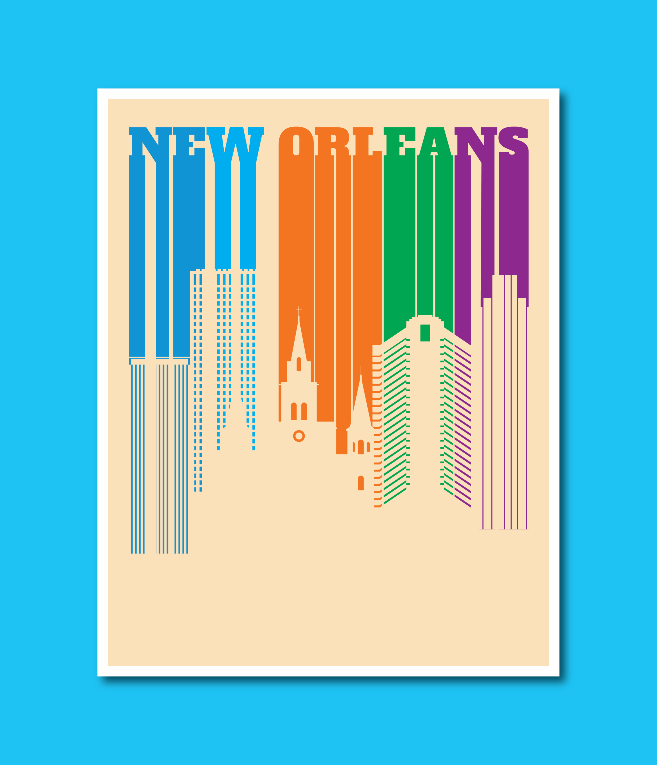 MarioSiART New Orleans in Bold Letters form the City Skyline