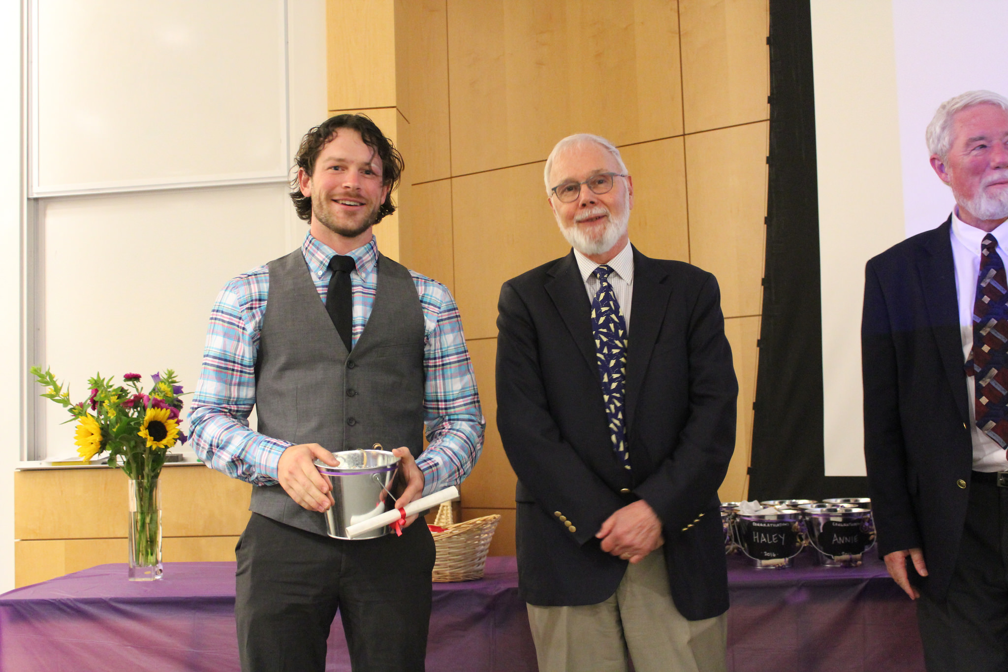 Chris Giordano after receiving his diploma from Professor Leschine.