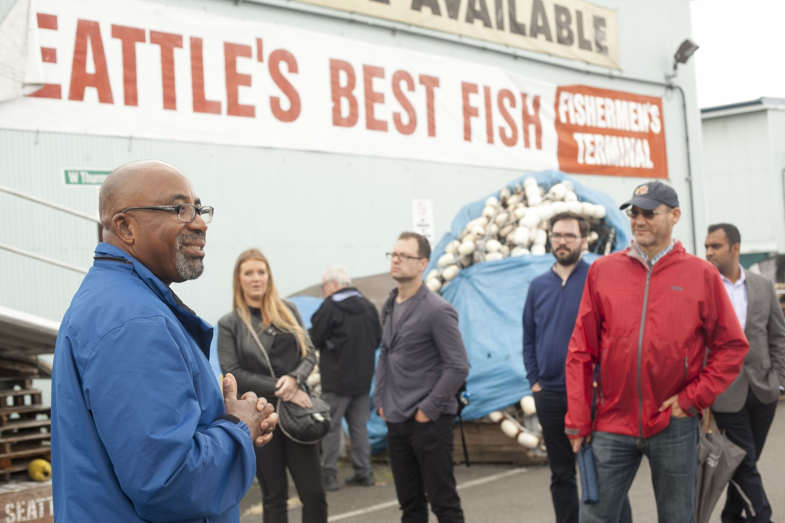 Delmas Whittaker speaking to the group at the Port of Seattle . Photo by Marina Piedade, Van Alen