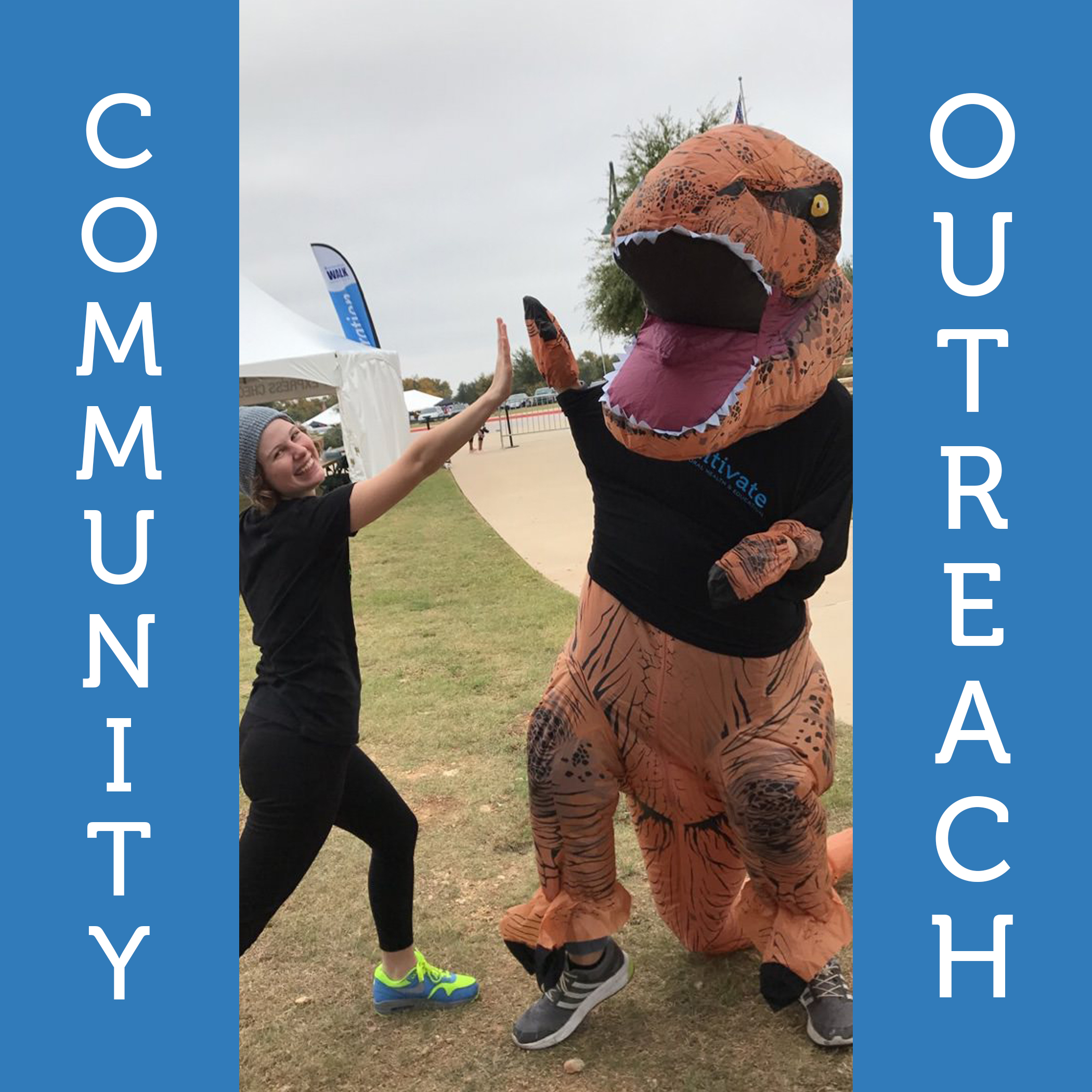Community Outreach   The Autism Speaks' WALK and the Autism Society's AutFest are just a couple events we love to be involved with!We believe its important to support the autism community by helping raise dollars and awareness.