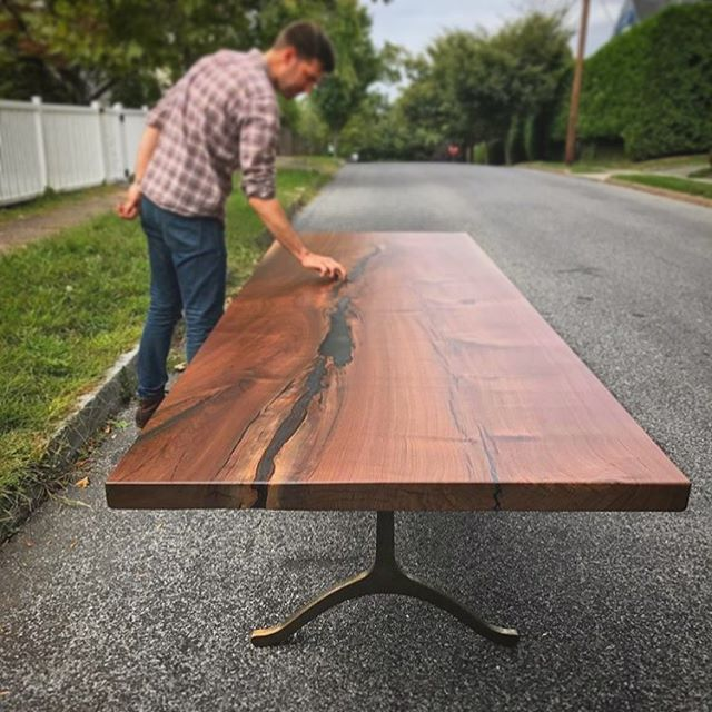 Pre-install inspection on this handsome piece from @slabsupplyco . Have you made a table with our legs? Tag us! We'd love to see it 🤜🤛 . . . . #castiron #castironlegs #castirontablelegs #castirontablebase #legsfordays #nicelegs #castironlove #customwoodworking #liveedgetable #modernindustrial #modernfarmhouse #madeinri #madeinrhodeisland #madeintheusa #slabsupplyco