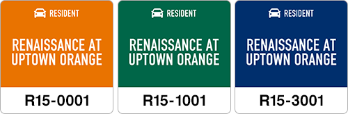 The resident decals are color-coded to quickly identify where in the lot the vehicle is supposed to be parked. Each individual decal one has a unique ID number that gets recorded in the software and tied to the resident.