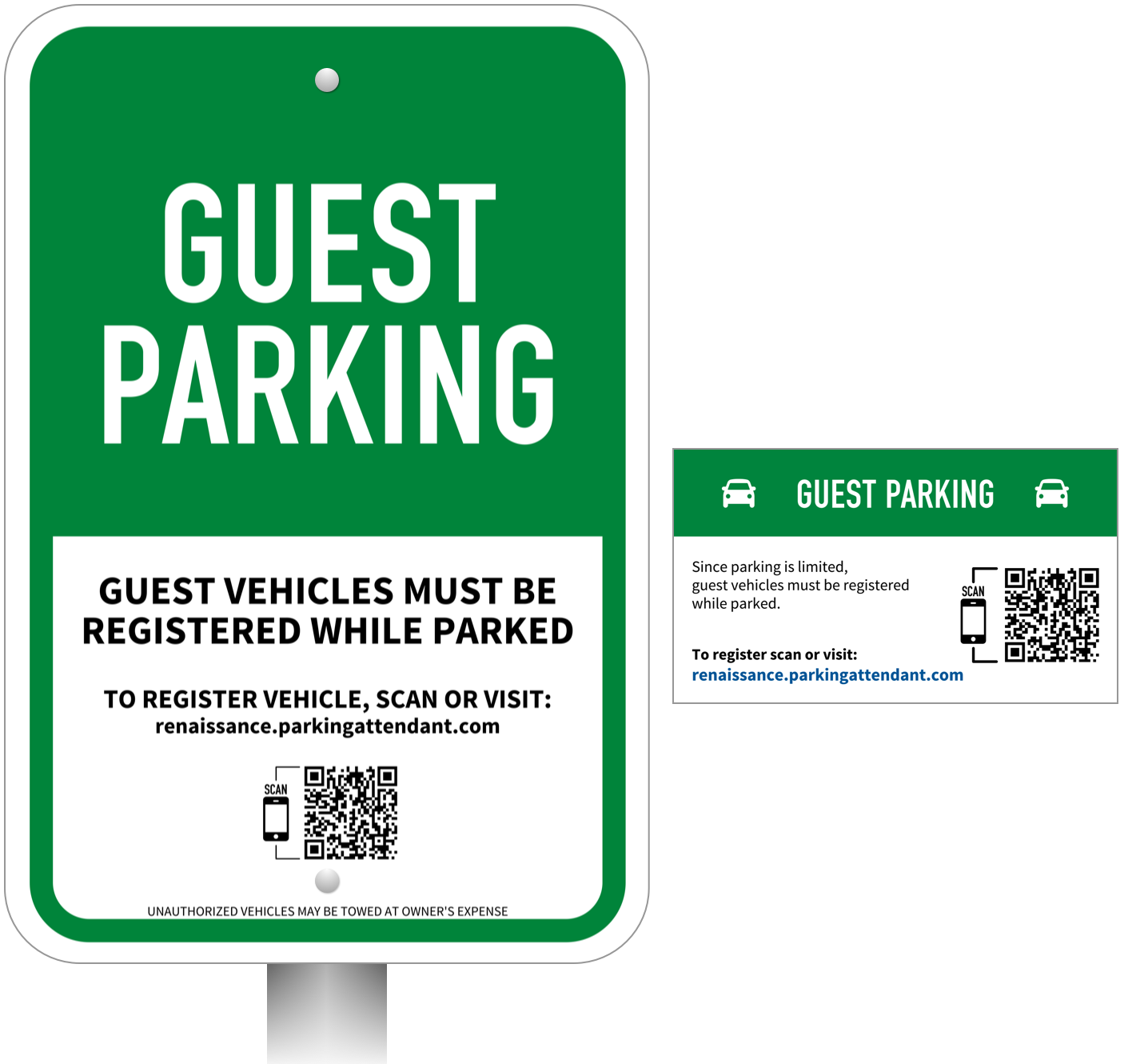 The guest parking signs and magnets direct the guests to the Virtual Attendant. Handy refrigerator magnets are given to the residents for a quick way to register their guests.