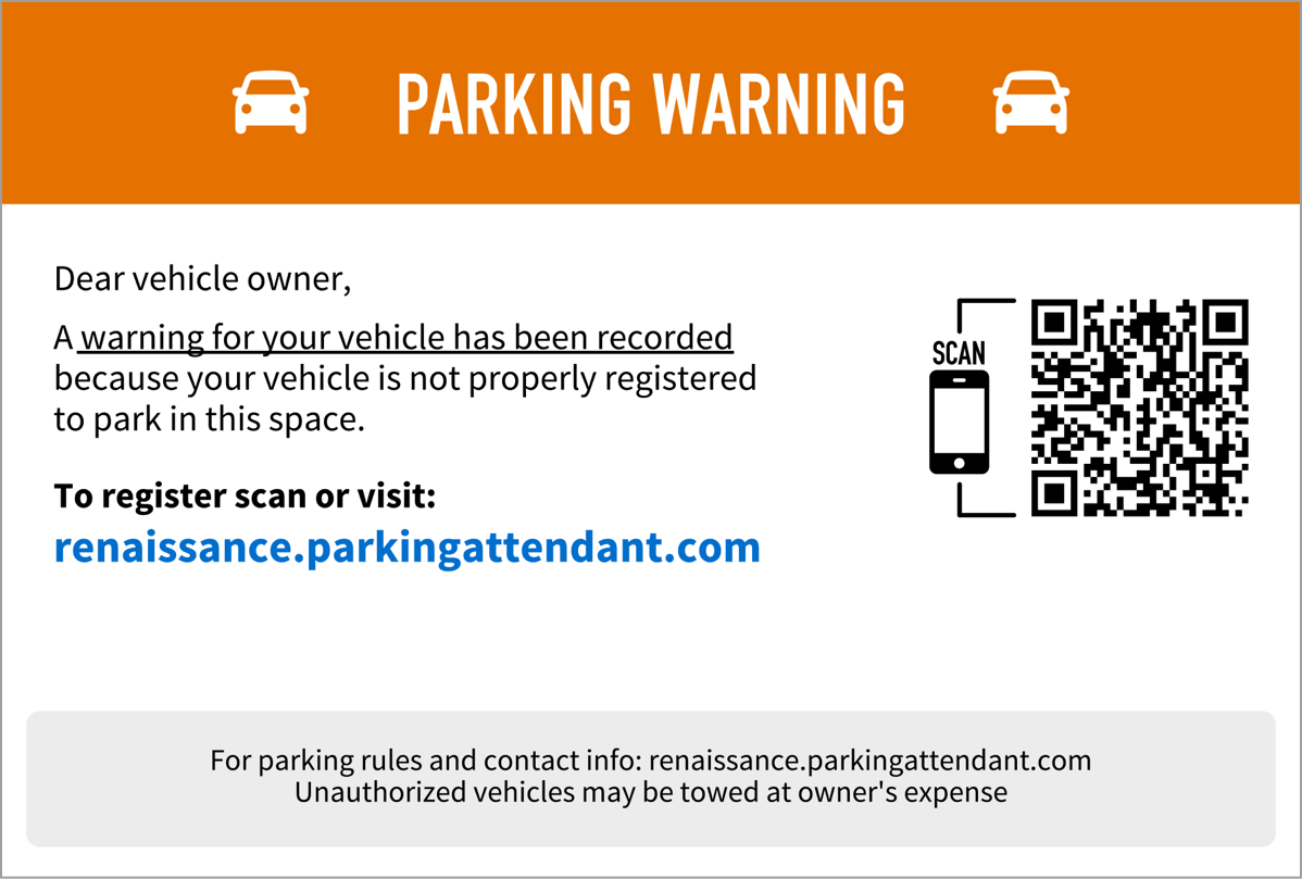 """The 4""""x6"""" warning card is a professional way of notifying the vehicle owner that they are not in compliance. Instructions for parking are clearly displayed for the next time they visit."""