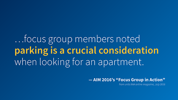 """Focus group members noted parking is a crucial consideration when looking for an apartment. -AIM 2016's """"Focus Group in Action"""" from Units NAA online magazine, July 2016."""