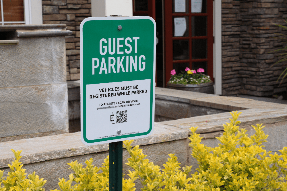 Guest parking signs help visitors find spots without confusion. Our guest parking signs allow guests to register a guest permit on their mobile device with a quick QR code scan.