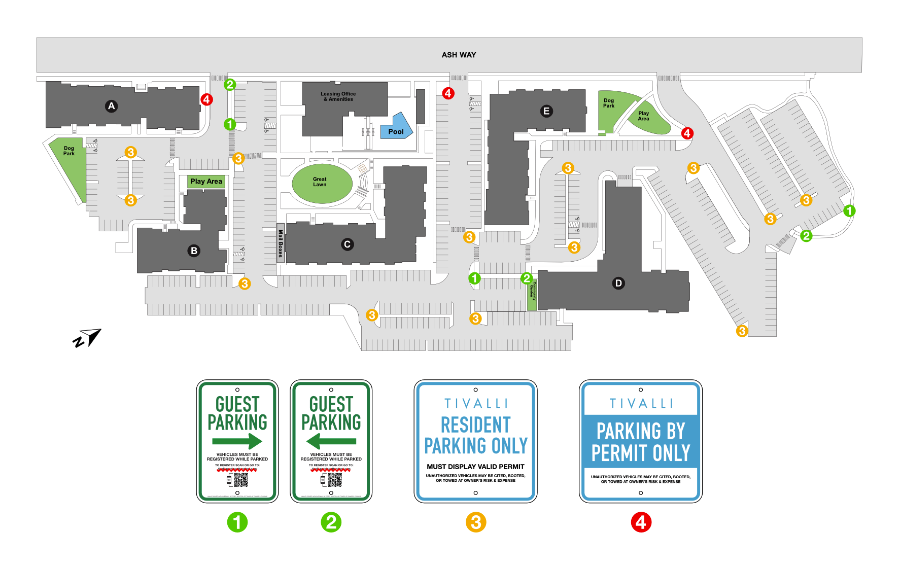 Parking signage and space allocation plan for Tivalli.