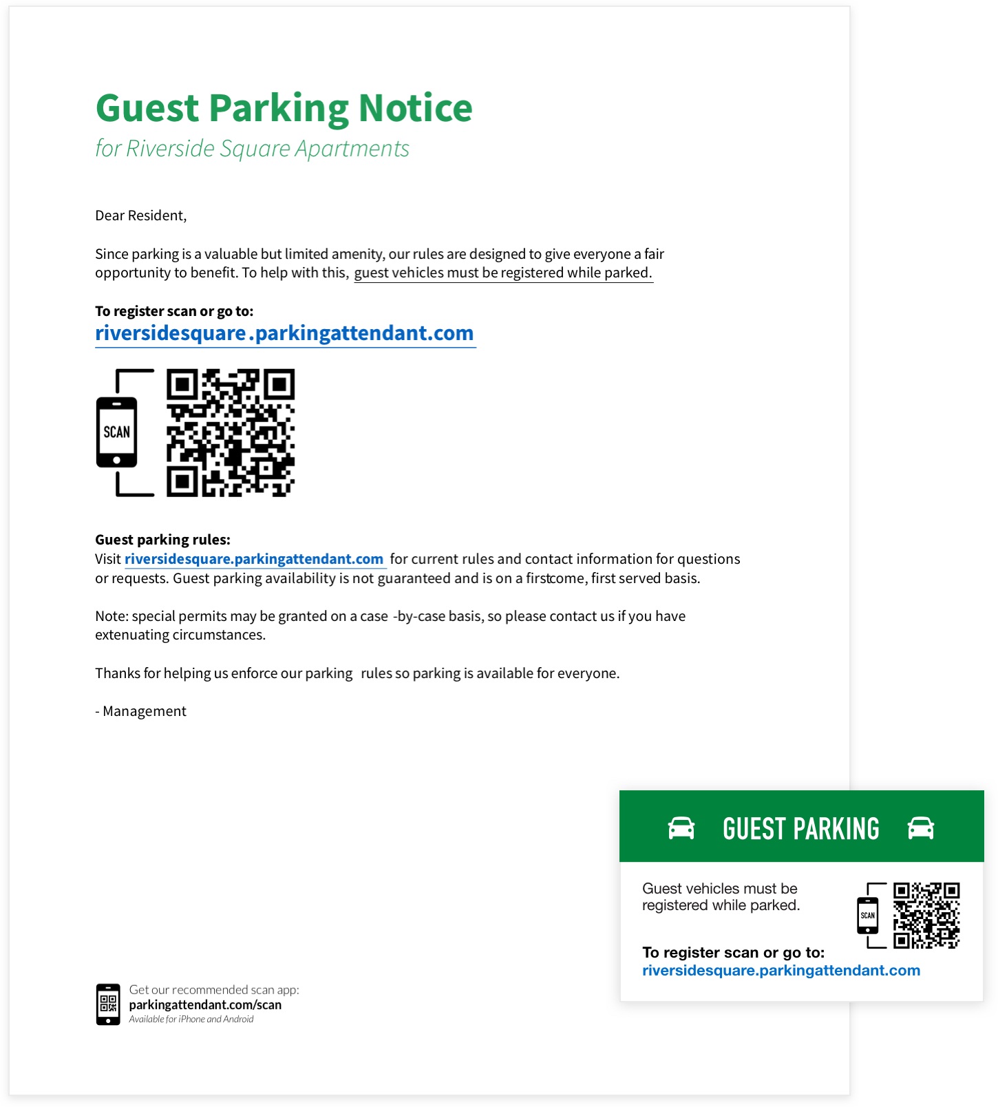 The guest parking notice informs your residents about the rules. Our magnets are a simple reminder and convenient way for residents to register their guests.