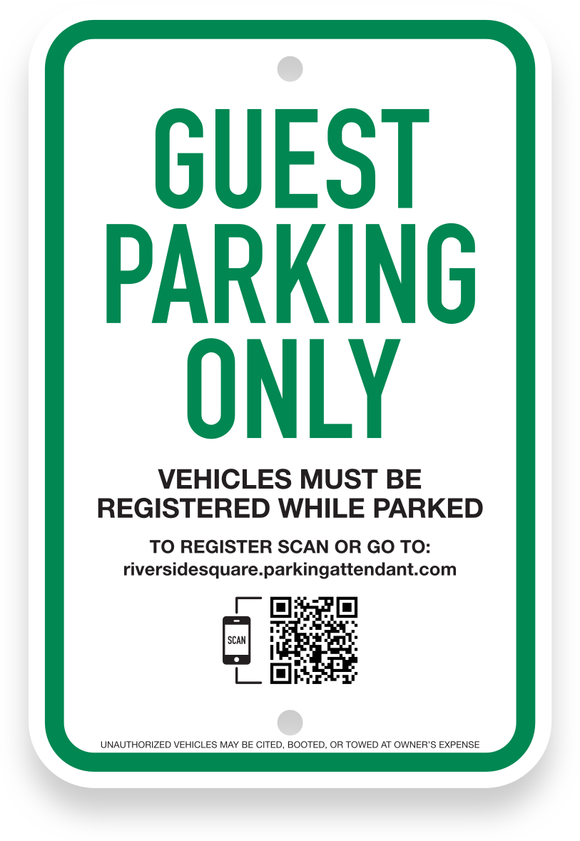 Integrated guest parking sign
