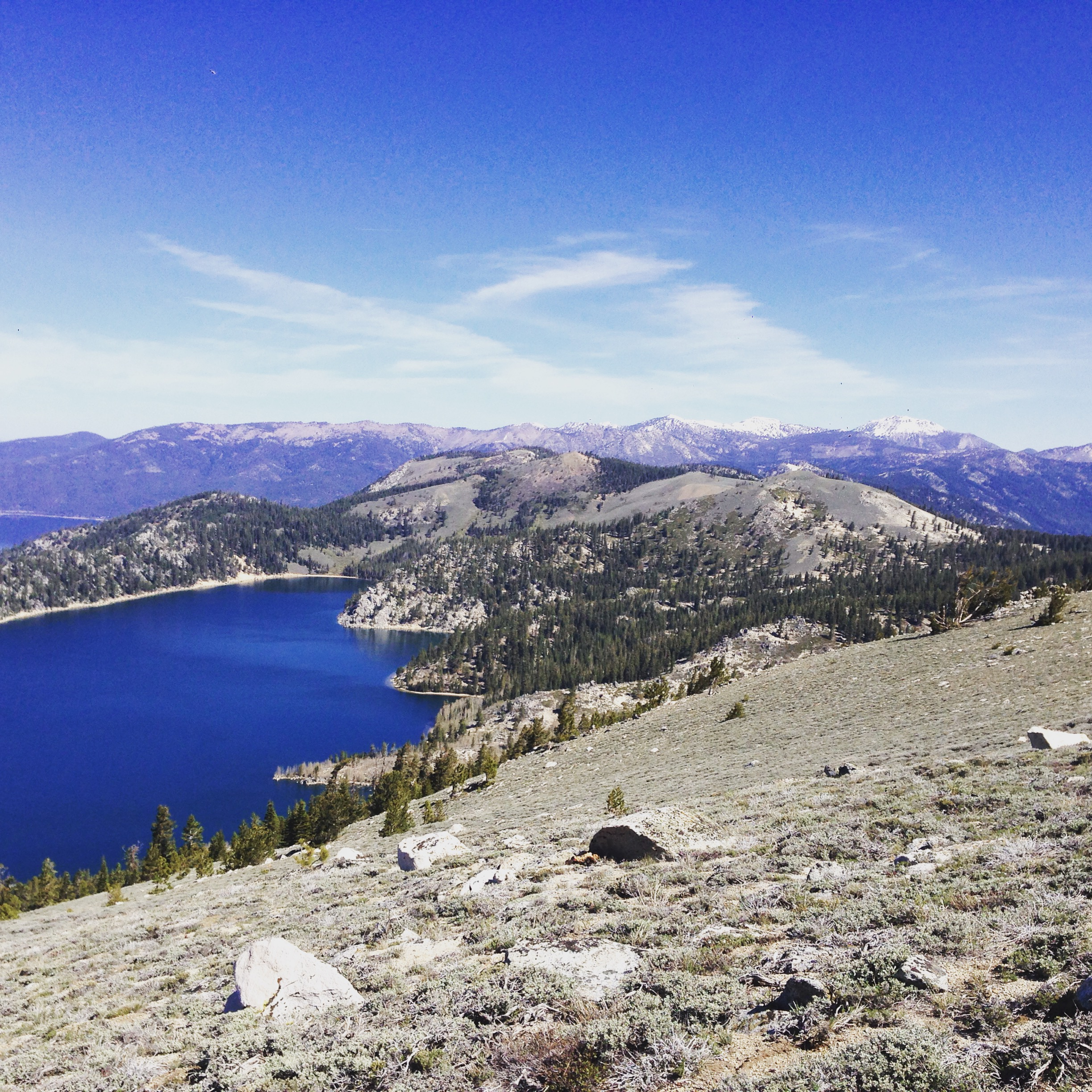 The mountains provide a great deal of perspective and peace. View from Snow Valley Peak over Marlette Lake and Tahoe beyond.