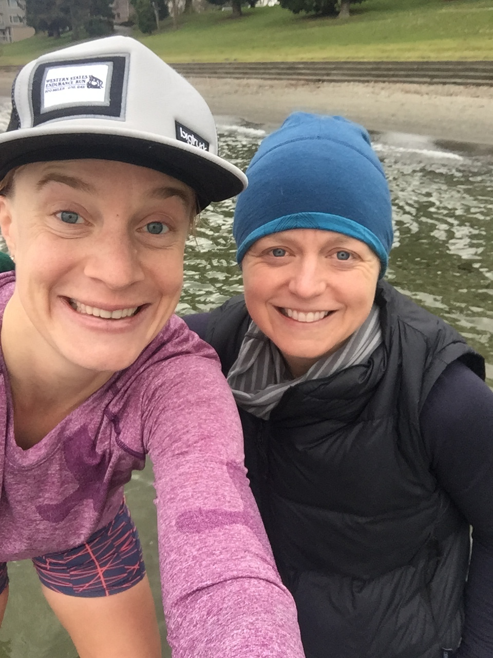First long run since October and an icy dip in Lake Washington to boot. With Cathleen.