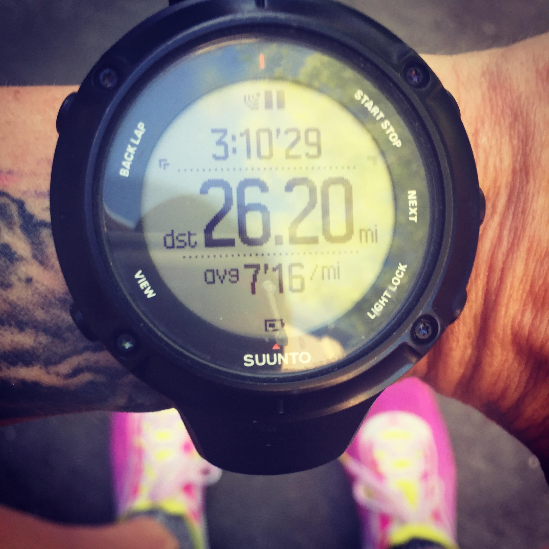 Crushing a 3:10 marathon during a 115 mile week.