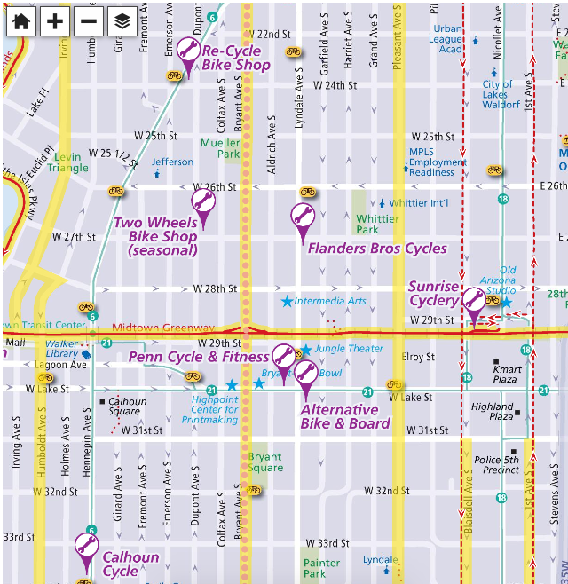 Click on the map above to find bike lanes and more info about bicycling in minneapolis