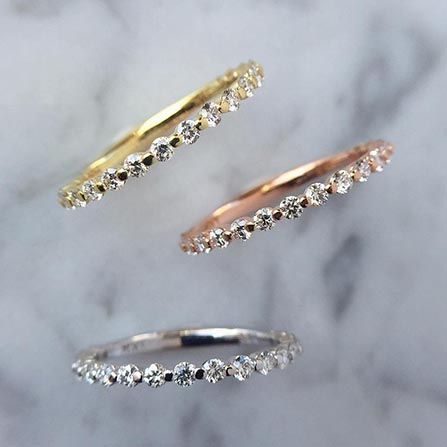 These dainty wedding bands are perfect for stacking with other rings.