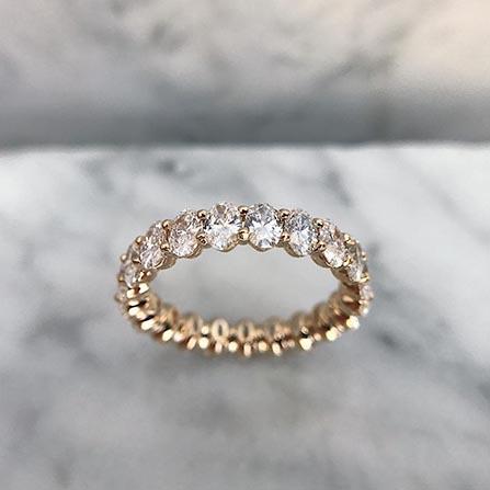 oval diamond wedding band ring