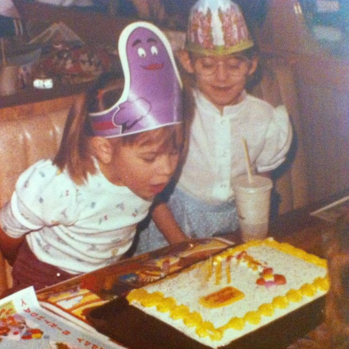 Donna and me at my 6th birthday party.