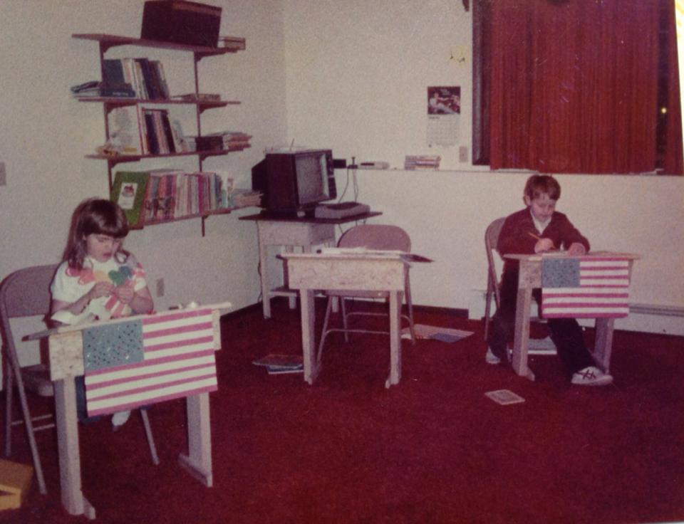James and his sister Anna home schooling in the 80s, before it was cool.