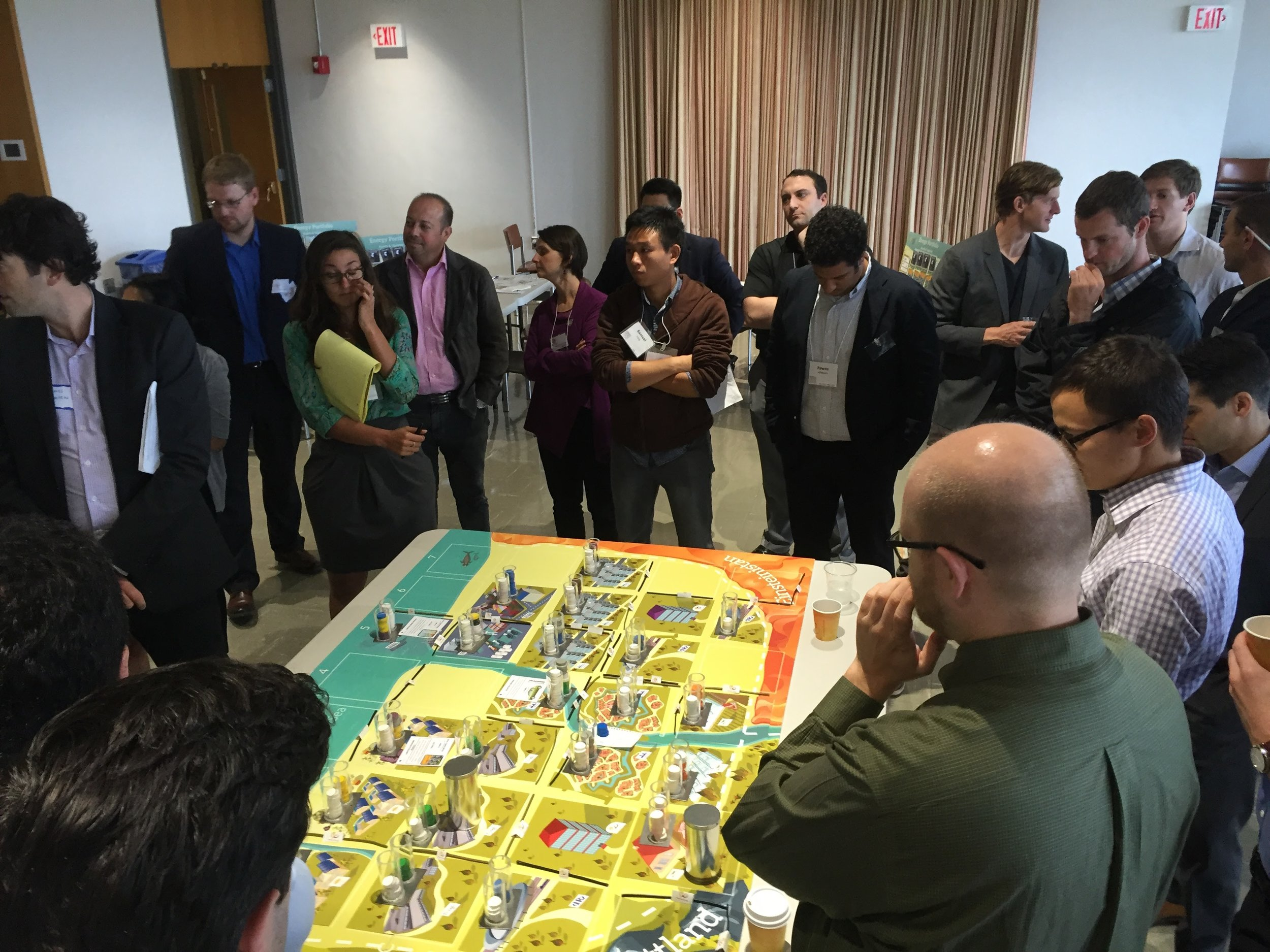 Participants examining the town of 'Newtonia' and its energy needs.
