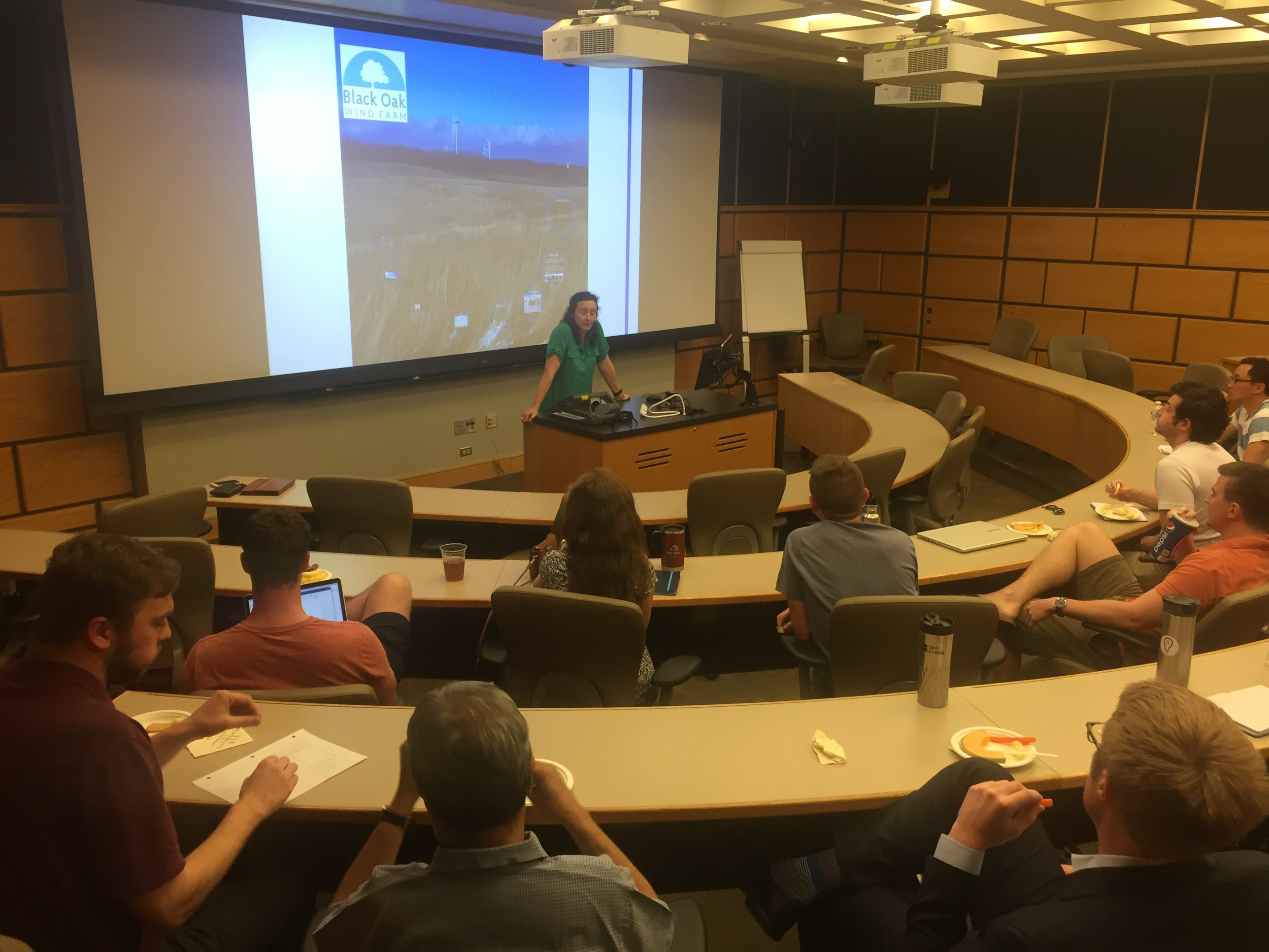 CEC members hear from Marguerite Wells on her experience leading the development of the Black Oak Wind project.