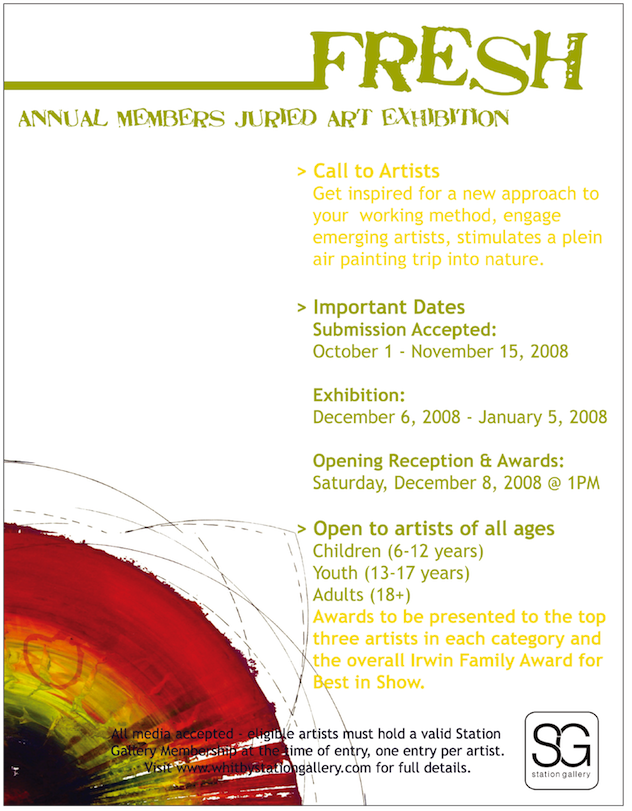 """Promotional poster for """"Fresh"""" Annual Juried Art Exhibition 2008"""