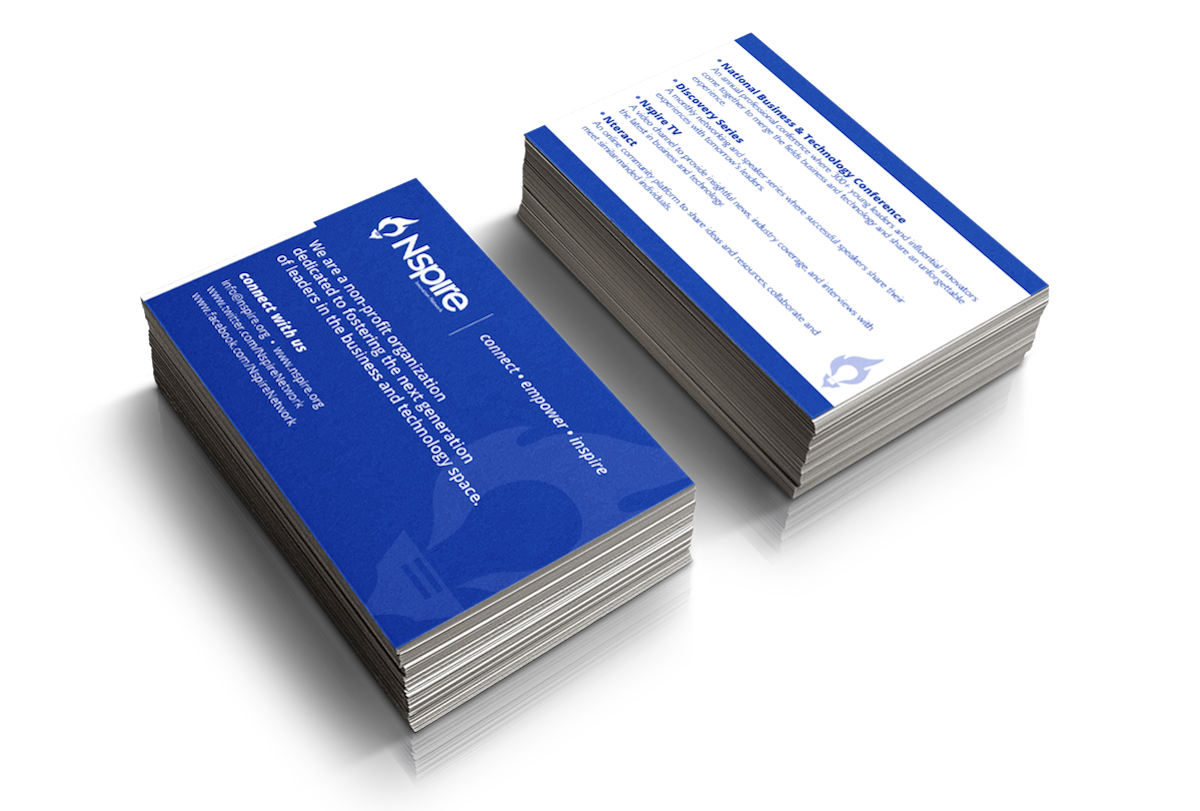 Nspire information cards and promotional roll-up banner for networking event purposes.