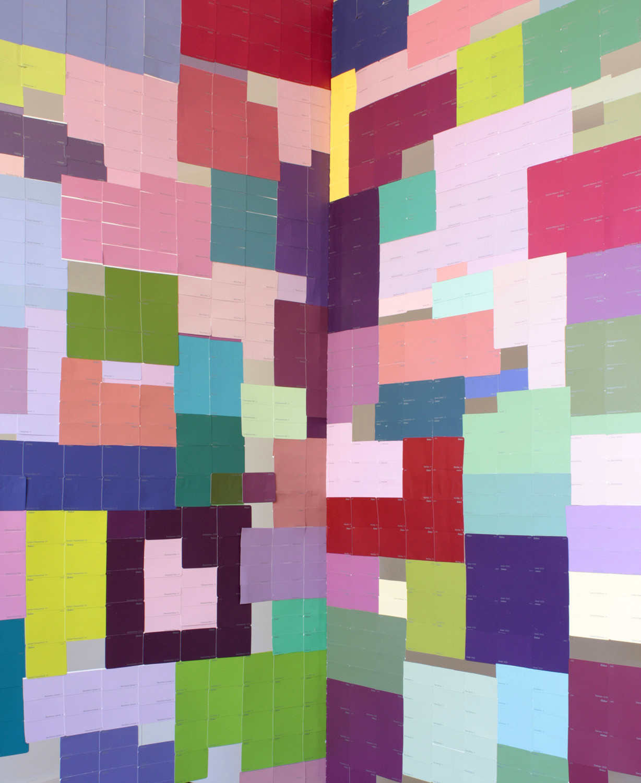 Panic Room (Indecision) - interior Dulux paint samples, pine 2010 205 x 180 x 180 cm
