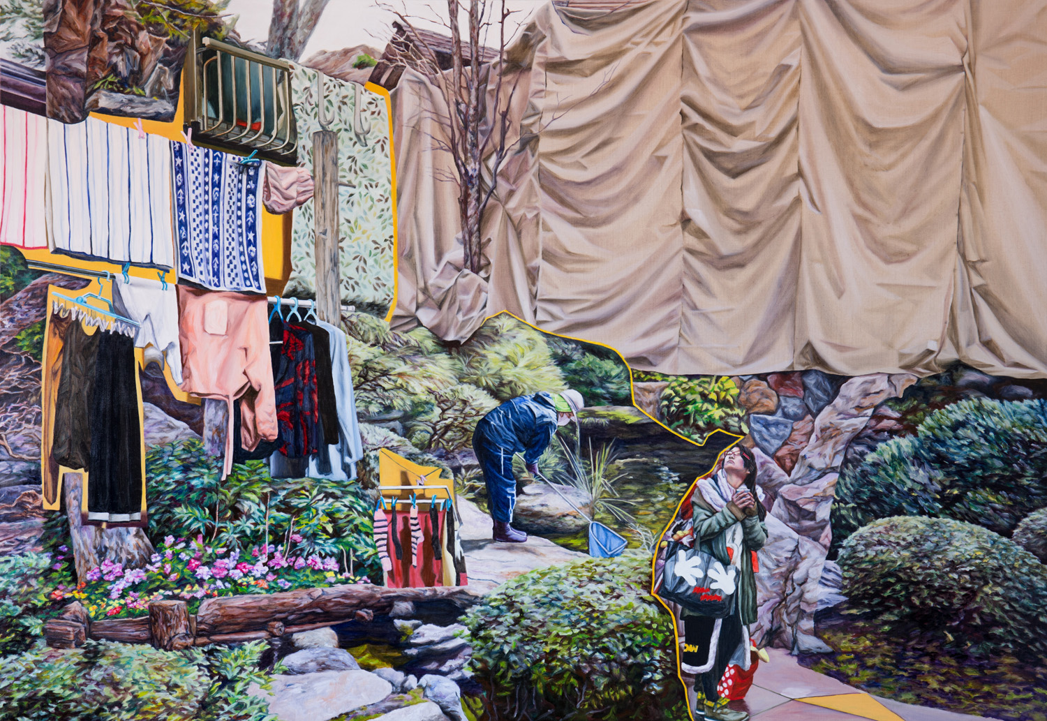 Kevin Chin, Out to Dry, 2015, oil on linen, 137 x 198 cm