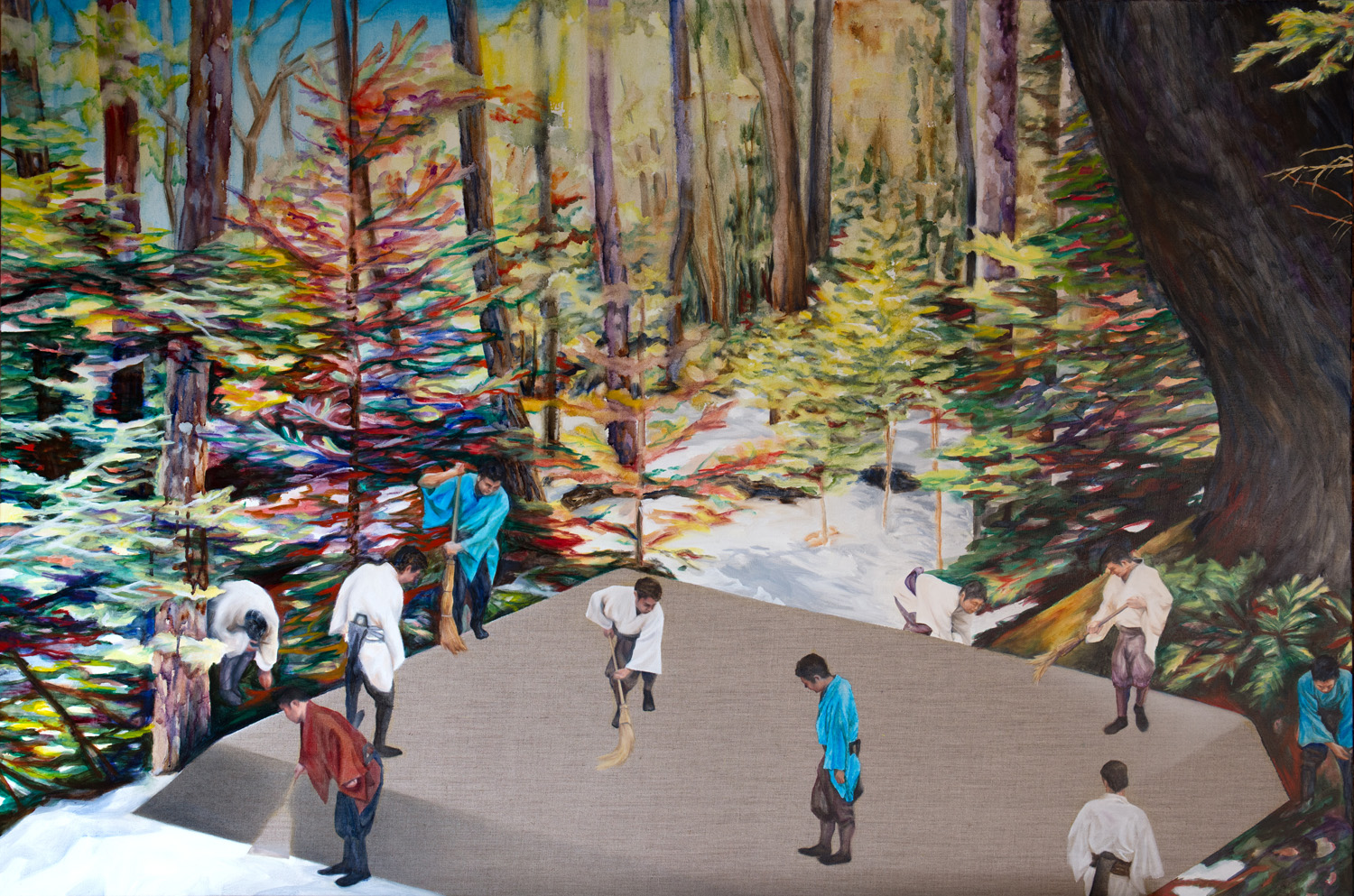 Kevin Chin, Tend the Ground, 2014, oil on linen, 97 x 147 cm