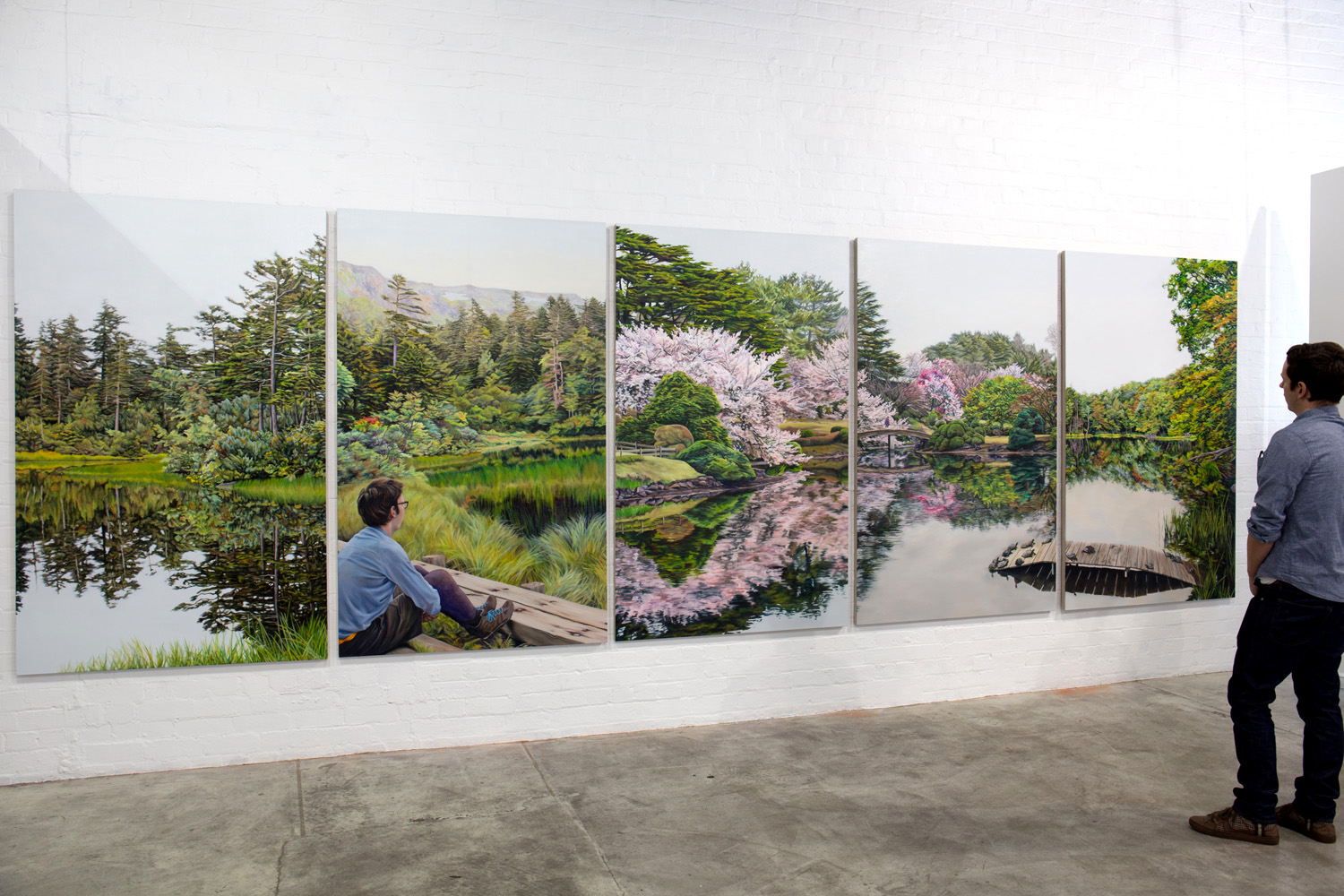 Kevin Chin, Between Bridges, 2015, oil on linen, 198 x 630 cm