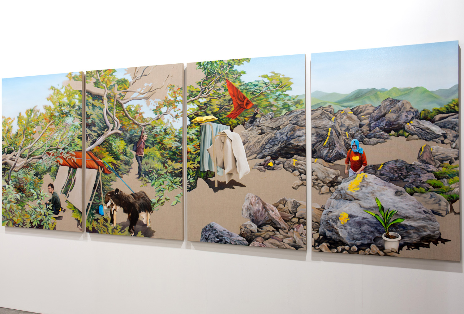 Kevin Chin, Pass By, 2014, oil on linen, 146 x 400 cm