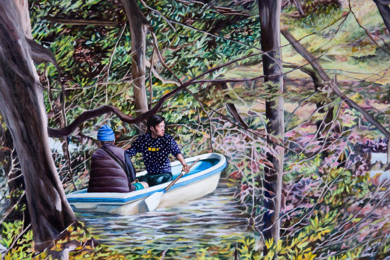 Kevin Chin, Crossing (detail), 2017, oil on Italian linen, 132 x 198 cm