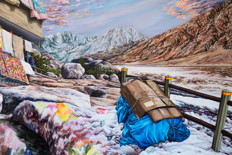 Kevin Chin, Pilgrimage (detail), 2017, oil on linen, 132 x 198 cm