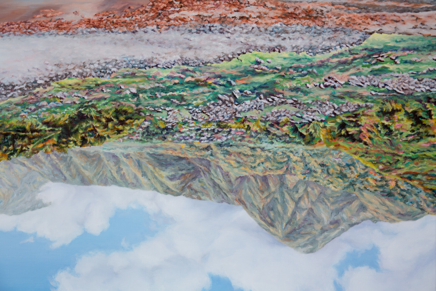 Kevin Chin, Peaks (detail), 2018, oil on linen, 137 x 198 cm
