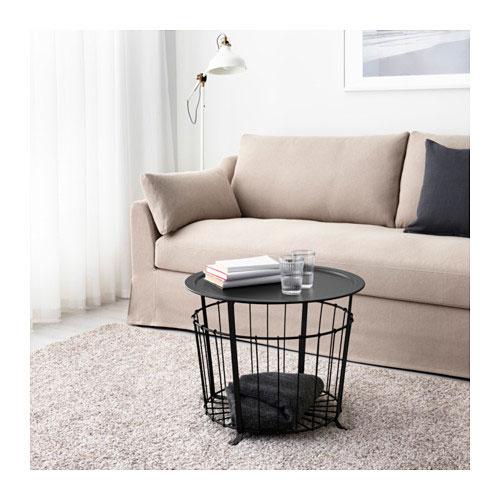 Mesa de almacenaje GUALOV     IKEA    Este producto de IKEA,  diseñado por  Johanna Jelinek  y novedad este año, hecho a base de acero mate, además de  mesa de centro, es bandeja  ¿No es perfecto para servir un aperitivo informal?