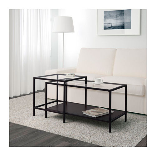 Mesa nido VITTSJÖ     IKEA   Estas mesas ocupan el espacio que tu quieras, hecha a base de  vidrio templado , es ideal si te gusta cambiar casi a diario el estilo de tu  salón