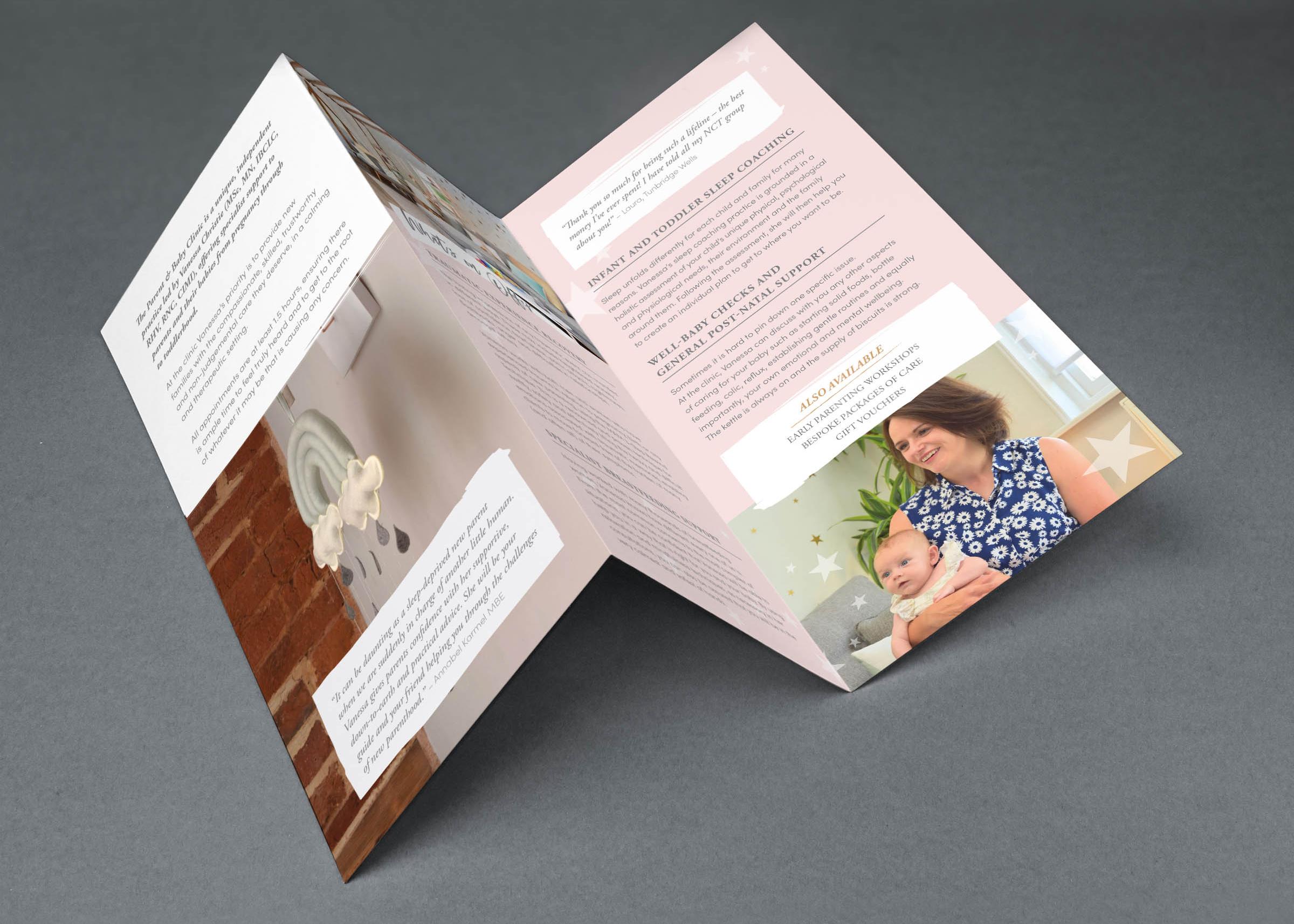Brochure design for Vanessa Christie, Wadhurst, East Sussex