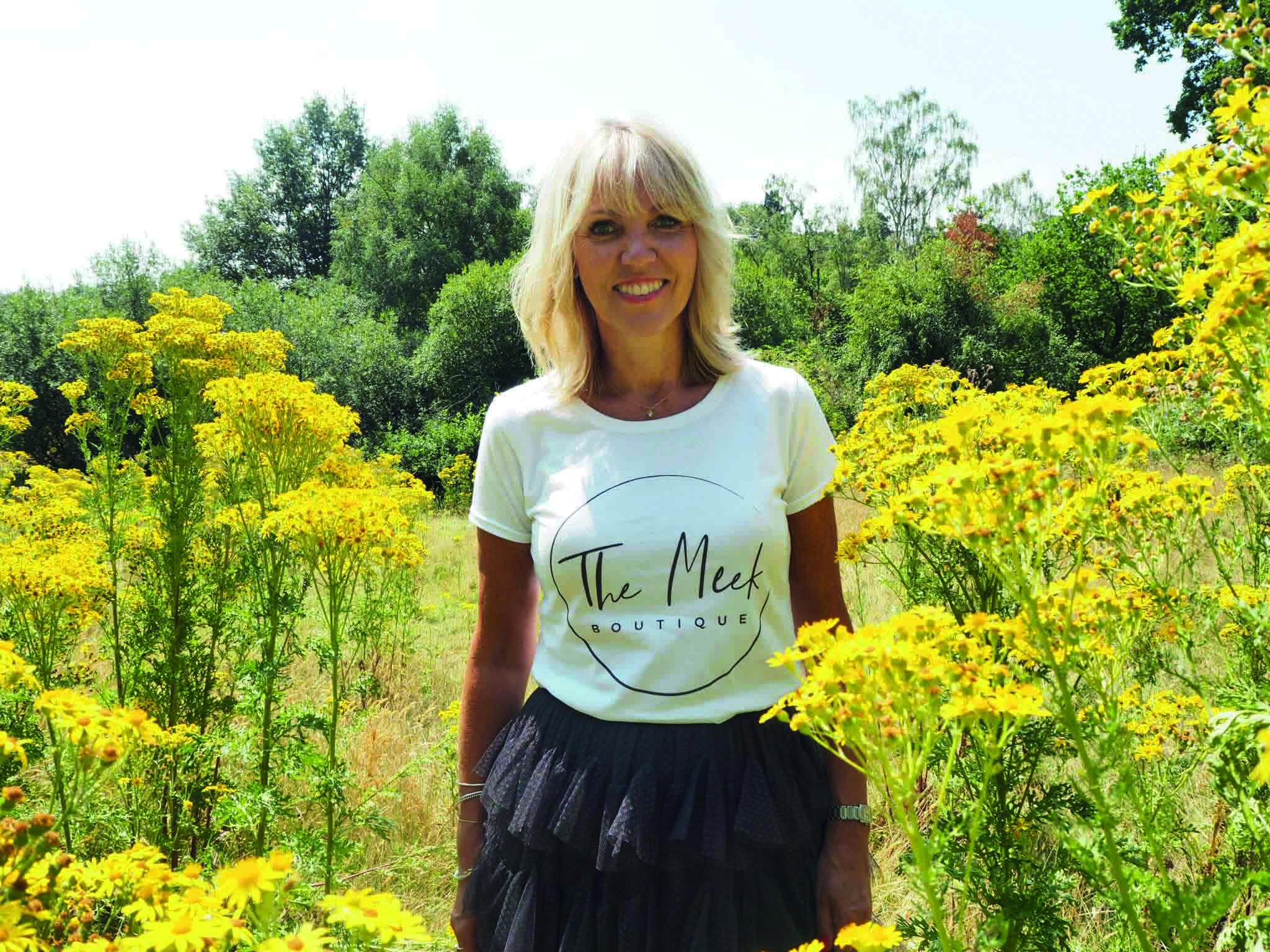 Lynne Meek, wearing branded t-shirt fot The Meek Boutique, Tunbridge Wells
