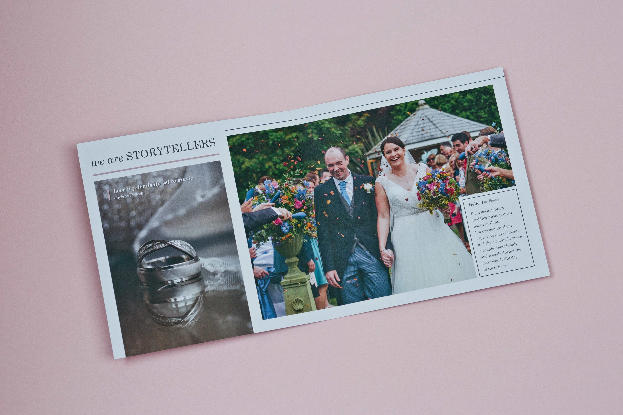Business stationery design agency for Penny Young, Wedding Photographer, Tonbridge, Kent