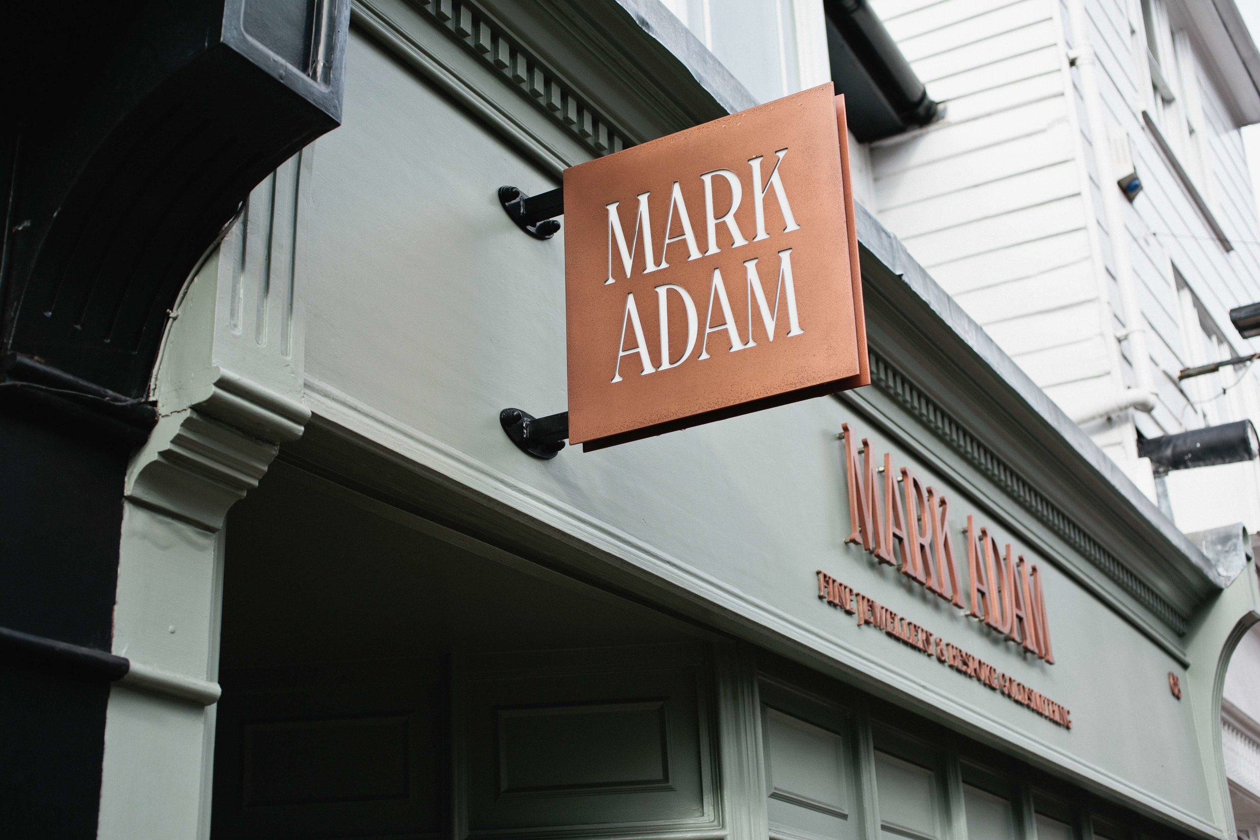 Shop signage design for MarkAdam Jewellers, Tunbridge Wells, Kent