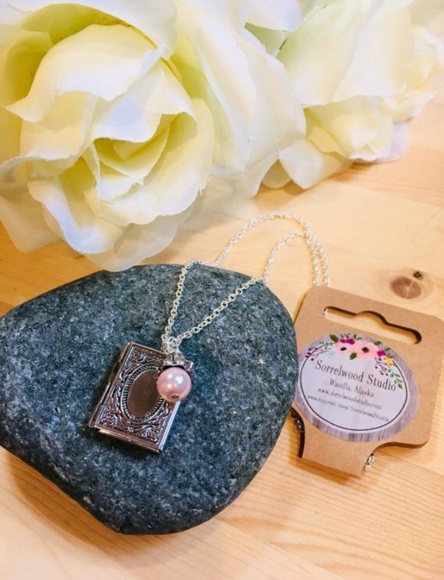 Silver book locket necklace